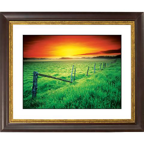 "Sunrise Fenceline Gold Bronze Frame Giclee 20"" Wide Wall Art"