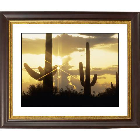 "Saguaro Sunrise Gold Bronze Frame Giclee 20"" Wide Wall Art"