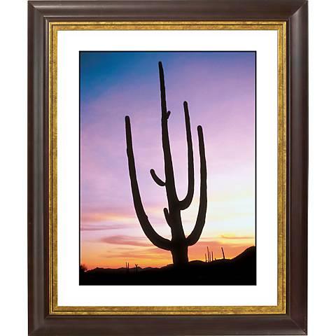 Saguaro Cactus & Sunrise Gold Bronze Frame Giclee Wall Art