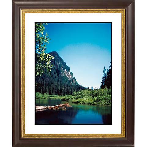"""Rocky Mountain View Gold Bronze Frame 20"""" High Wall Art"""