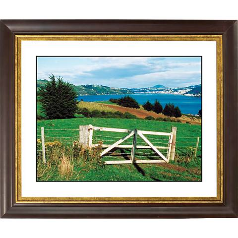"Pasture Fence Gold Bronze Frame Giclee 20"" Wide Wall Art"