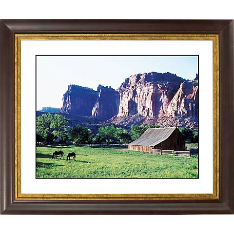 "Mesa Pasture Gold Bronze Frame Giclee 20"" Wide Wall Art"