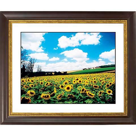 """Sunflower Field Gold Bronze Frame Giclee 20"""" Wide Wall Art"""