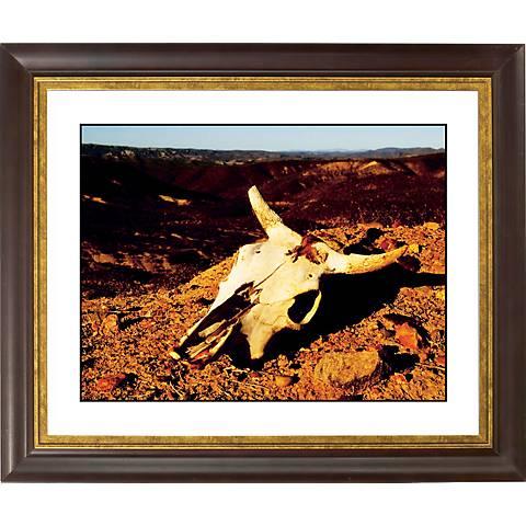 """Desert Skull Gold Bronze Frame Giclee 20"""" Wide Wall Art"""