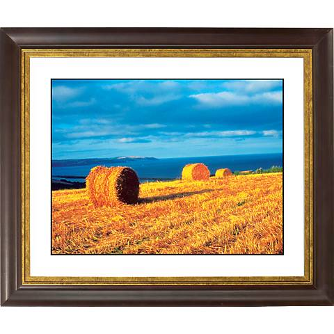 """Hay Bales Gold Bronze Frame Giclee 20"""" Wide Wall Art"""