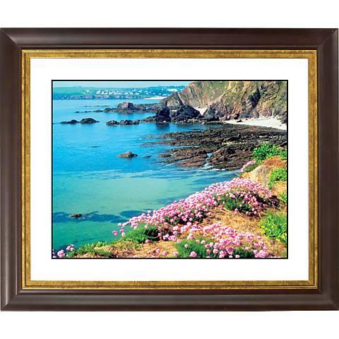 "Seaside Flowers Gold Bronze Frame Giclee 20"" Wide Wall Art"