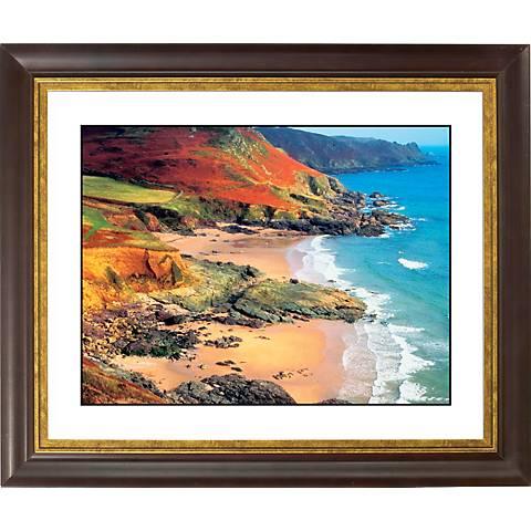 """Beach Hideaway Gold Bronze Frame Giclee 20"""" Wide Wall Art"""