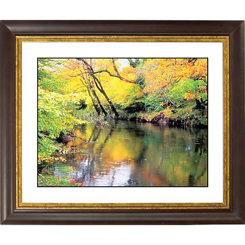 "River Reflections Gold Bronze Frame Giclee 20"" Wide Wall Art"
