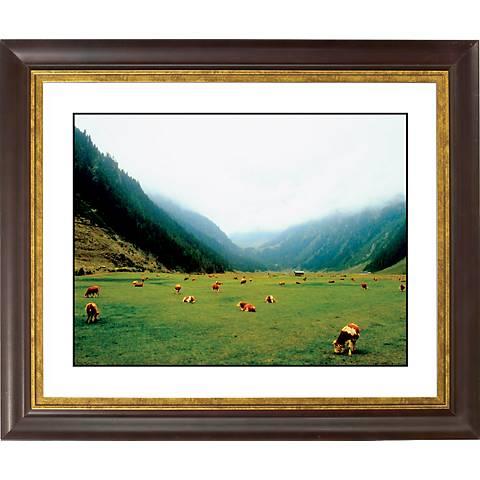 "Alpine Pasture Gold Bronze Frame Giclee 20"" Wide Wall Art"