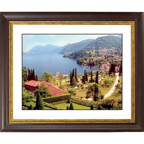 """Italian Lake Gold Bronze Frame Giclee 20"""" Wide Wall Art"""