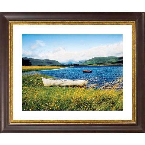 "Windswept Lake Gold Bronze Frame Giclee 20"" Wide Wall Art"