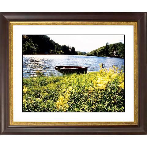 "Lake Fishing Boat Gold Bronze Frame Giclee 20"" Wide Wall Art"