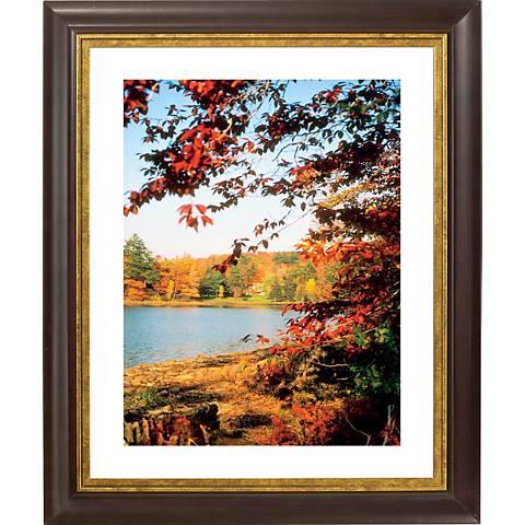 "Autumn At The Lake Gold Bronze Frame 20"" High Wall Art"