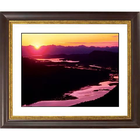 """River Sunset Gold Bronze Frame Giclee 20"""" Wide Wall Art"""