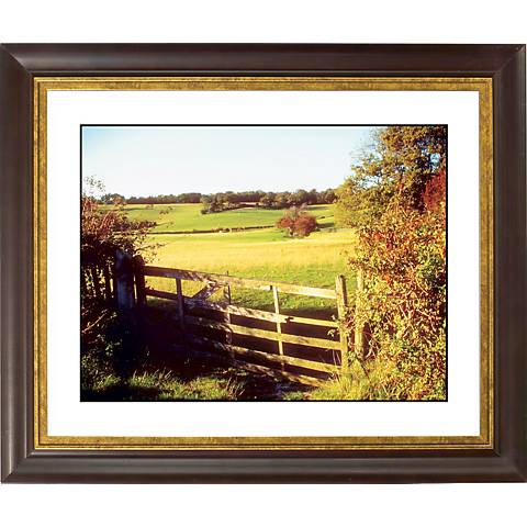 """Pasture Fence II Gold Bronze Frame Giclee 20"""" Wide Wall Art"""
