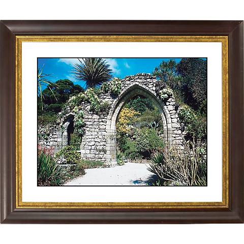 """Gothic Arch Ruins Gold Bronze Frame Giclee 20"""" Wide Wall Art"""