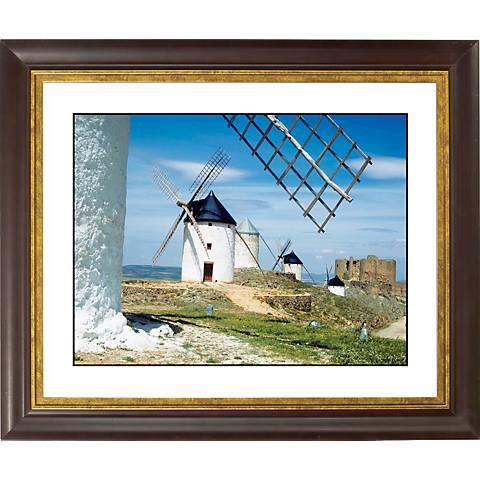 """Dutch Windmills Gold Bronze Frame Giclee 20"""" Wide Wall Art"""