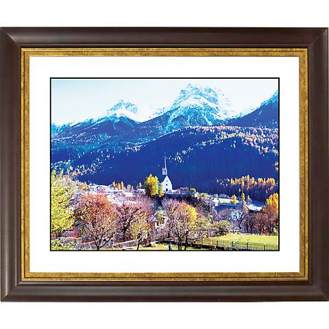 "Alpine Church Gold Bronze Frame Giclee 20"" Wide Wall Art"