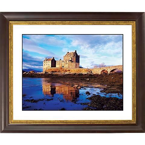 """Seaside Castle Gold Bronze Frame Giclee 20"""" Wide Wall Art"""