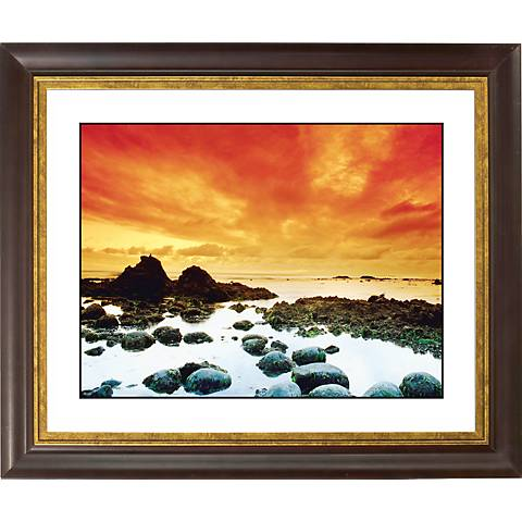 "Sunset Tide Pool Gold Bronze Frame Giclee 20"" Wide Wall Art"