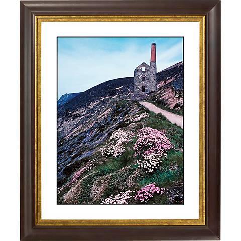 """Cliffside Ruins Gold Bronze Frame Giclee 20"""" High Wall Art"""