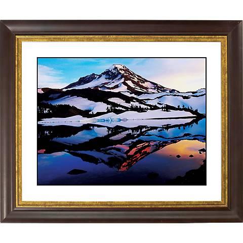 "Icelandic Peak Gold Bronze Frame Giclee 20"" Wide Wall Art"