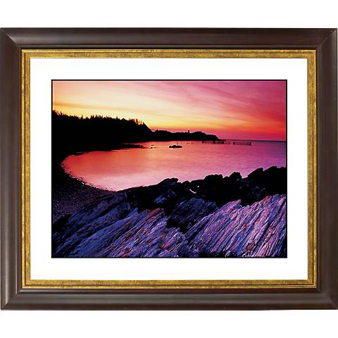 """Red Lake Sunset Gold Bronze Frame Giclee 20"""" Wide Wall Art"""