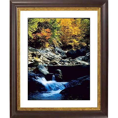"Crystal Mountain Stream Gold Bronze Frame 20"" High Wall Art"