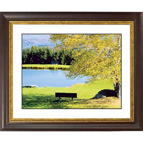 "Lakeside Bench Gold Bronze Frame Giclee 20"" Wide Wall Art"