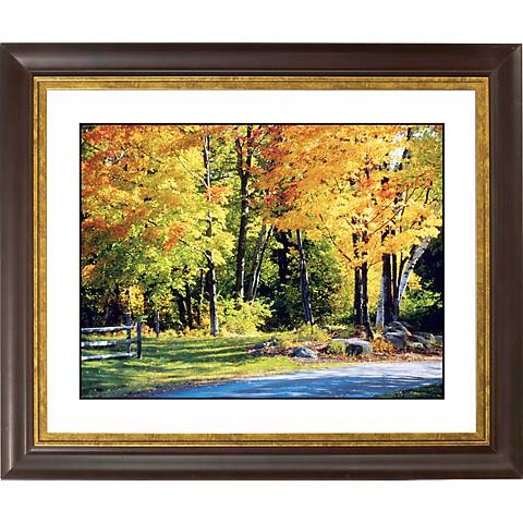 "Falling Leaves Gold Bronze Frame Giclee 20"" Wide Wall Art"
