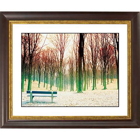 "Bare Trees Gold Bronze Frame Giclee 20"" Wide Wall Art"