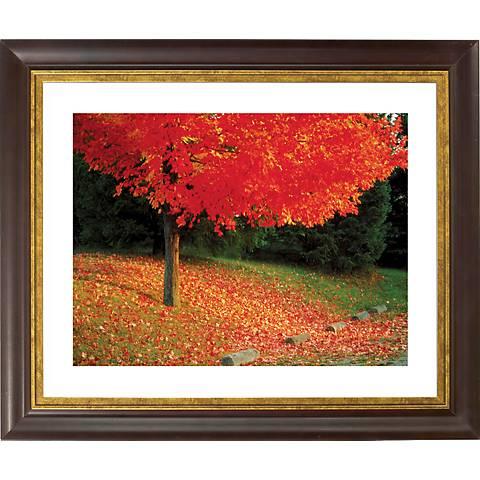 "Autumn Color Burst Gold Bronze Frame 20"" Wide Wall Art"