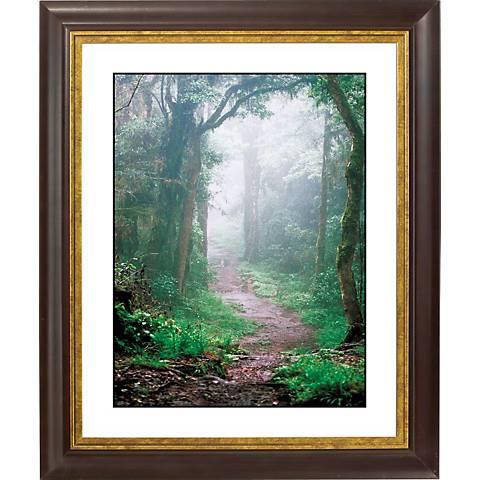 """Misty Forest Gold Bronze Frame Giclee 20"""" High Wall Art"""