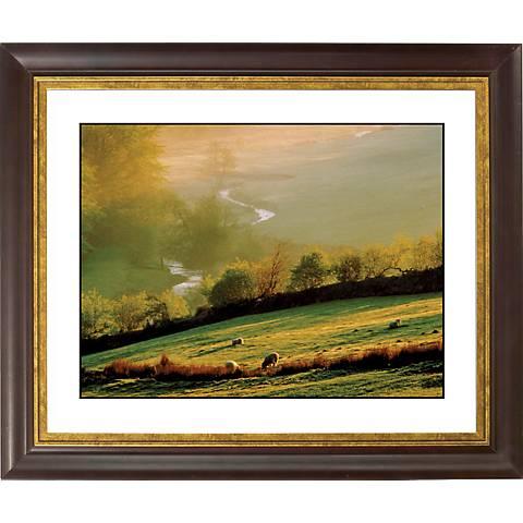 "Misty Sunrise Gold Bronze Frame Giclee 20"" Wide Wall Art"