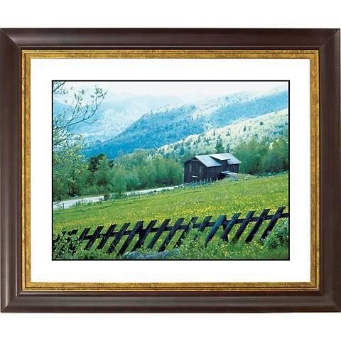 "Alpine Cabin Hideaway Gold Bronze Frame 20"" Wide Wall Art"