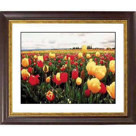 "Tulip Field Gold Bronze Frame Giclee 20"" Wide Wall Art"