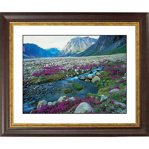 """Mountain Running Stream Gold Bronze Frame 20"""" Wide Wall Art"""