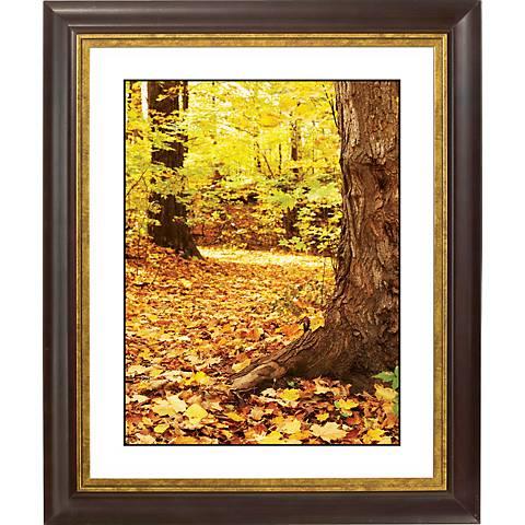"""Autumn Fallen Leaves Gold Bronze Frame 20"""" High Wall Art"""