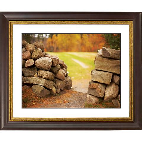 "Stone Wall In Autumn Gold Bronze Frame 20"" Wide Wall Art"