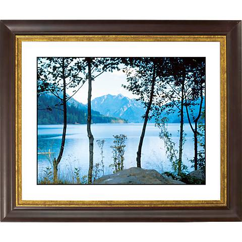 "Mountain Lake Gold Bronze Frame Giclee 20"" Wide Wall Art"