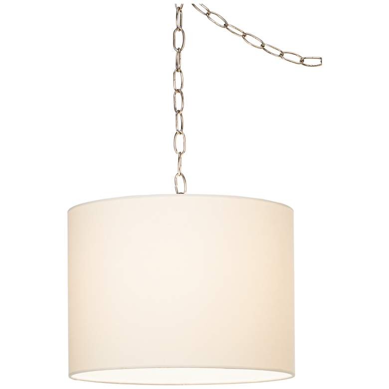 White Swag Style Plug-In Chandelier