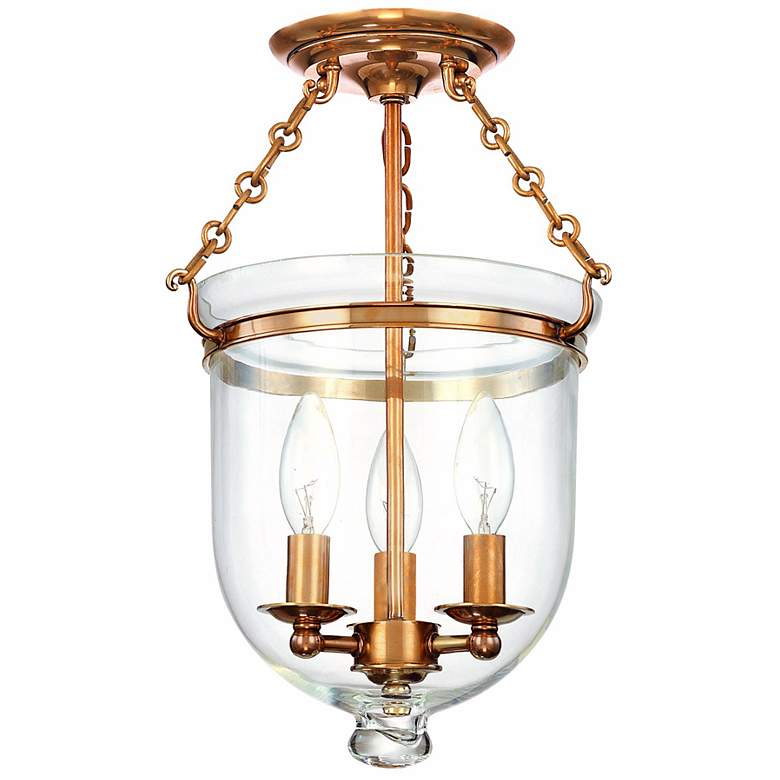"""Hampton 10 1/4"""" Wide Aged Brass Clear Glass Ceiling Fixture"""