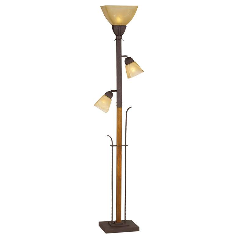 Aspen Grove Rustic Farmhouse Torchiere Floor Lamp