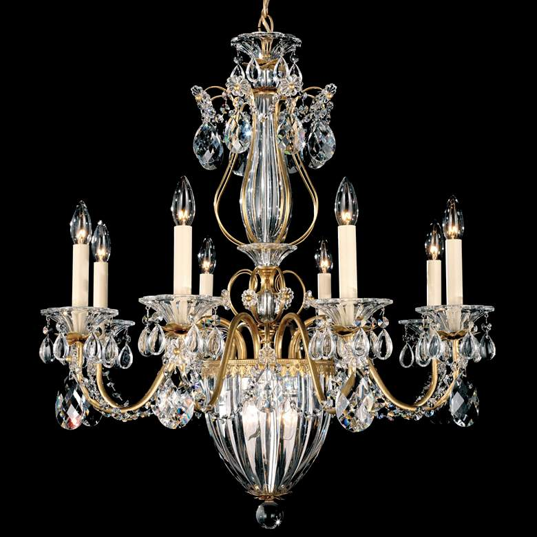 "Schonbek Bagatelle 26"" Wide Heirloom Gold Crystal Chandelier"