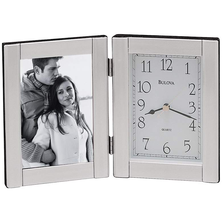 "Bulova Forte II Silver 9"" Wide Picture Frame Table Clock"