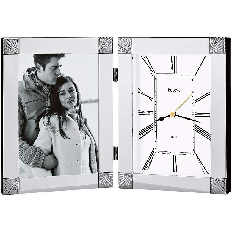 "Bulova Ceremonial Silver 12 1/2""W Picture Frame Table Clock"