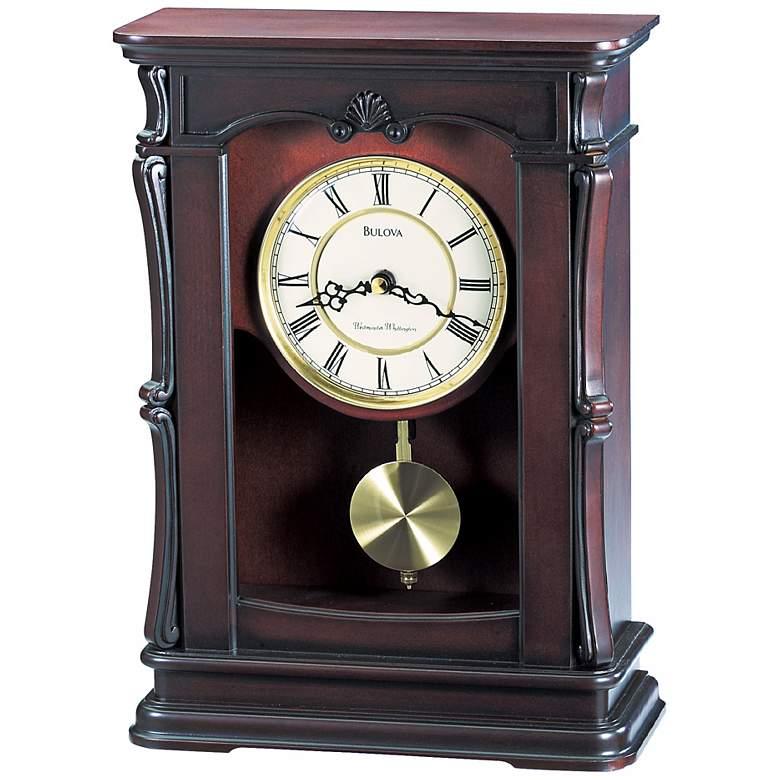 "Abbeville Walnut 13 1/4"" High Bulova Mantel Clock"