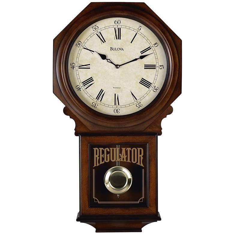 "Bulova Ashford Walnut Wood Stain 25"" High Chiming Wall Clock"
