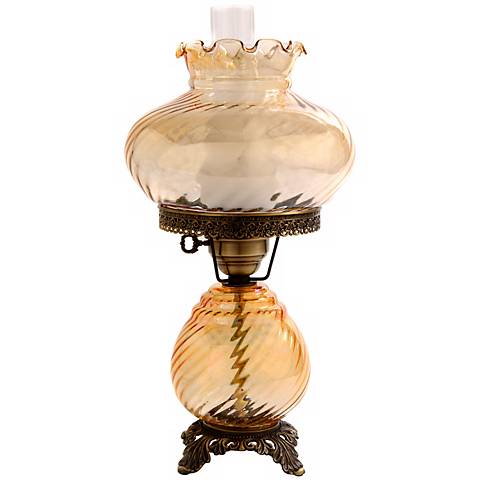 Amber Swirl Optic Shade Night Light Hurricane Table Lamp