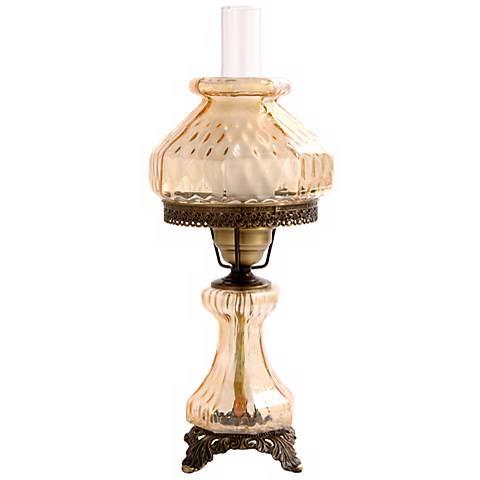 Amber Rhombus Octagon Shade Night Light Hurricane Table Lamp